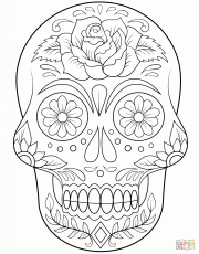 Sugar Skull with Flowers coloring page | Free Printable Coloring Pages