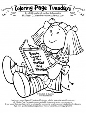 dulemba: Coloring Page Tuesday - Reading Doll