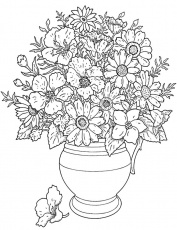 Flowers in a Pot - Coloring Page for Kids - Free Printable Picture