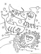 Coloring Pages Shark Jelly Fish In Occean Natural World Gt Oceans