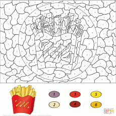 French Fries Color by Number coloring page | Free Printable ...