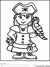 Pirate Coloring Pages girl - GINORMAsource Kids