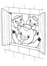 Three Little Pigs Coloring Pages - Big Bad Wolf Is Blowing ...