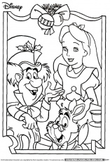 Disney Christmas Coloring Page - Alice in Wonderland Christmas