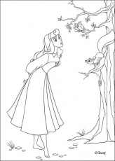 Sleeping Beauty coloring pages - Princess Aurora singing with birds