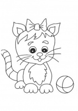 Cat With Small Plant Coloring Page | Kids Coloring Page