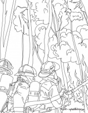 FIREMAN Coloring Pages Firemen Fighting Tree Fire 151813 Fireman
