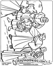 Bible story coloring page for the feeding of the five for Loaves and fishes bible story
