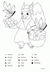 Autumn Coloring Page - A Squirrel with Red Rowanberries - Download Picture  (A4)