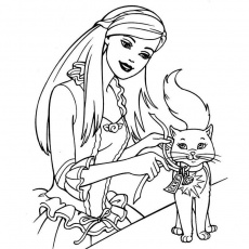Coloring Page Barbie And Cat | Screenfonds