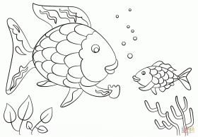 Rainbow Fish Gives a Precious Scale to Small Fish coloring page ...