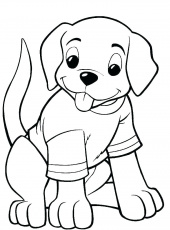 Printable A Dog Wearing T Shirt coloring page for both aldults and kids.
