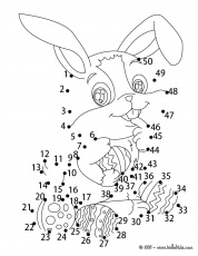 Easter bunny dot to dot game coloring pages - Hellokids.com