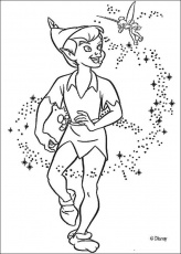 Peter Pan coloring pages - Peter Pan with Tinkerbell