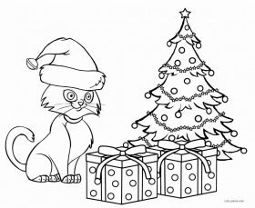 Here Is The Christmas Cat And Cardinal Crayola Coloring ...