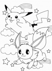 Eevee And Pikachu Coloring Pages - High Quality Coloring Pages