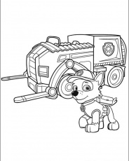 Rocky and his Recycling Truck - Paw Patrol Coloring Pages