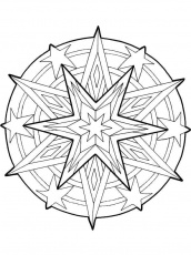 Mandala Christmas Stars Outline Coloring Pages: Mandala Christmas ...