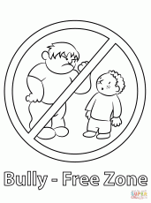 Bully Free Zone coloring page | Free Printable Coloring Pages
