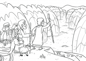 Coloring Pages : Moses Parting The Searing Page Inspire ...