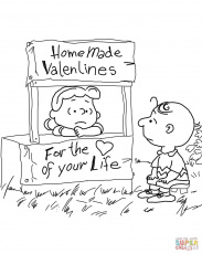 Peanuts Valentine's Day coloring page | Free Printable Coloring Pages