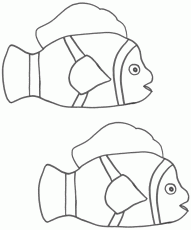 Two Clown Fish - Coloring Page (Fish)