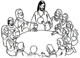 Jesus Sharing Bread and Wine in the Last Supper Coloring Page ...