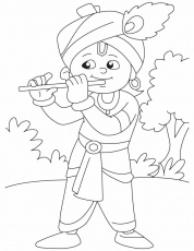 Krishna with his magical flute coloring pages | Download Free ...