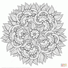 Abstract Flowers Zentangle coloring page | Free Printable Coloring ...