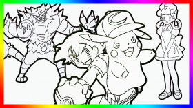 Pokemon Coloring page book for kids Pikachu speed coloring Pokémon, Incineroar,Ash Ketchum,Nurse Joy - YouTube