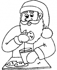 Santa Eating Chocolate Chip Cookie Coloring Page | Coloring for ...
