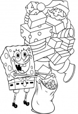 Present Christmas Spongebob Coloring Page