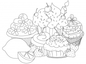 Dessert Coloring Pages Easy to Color - Drewolanoff.com