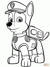 Paw Patrol Chase coloring page | Free Printable Coloring Pages