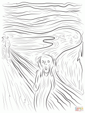 The Scream by Edvard Munch coloring page | Free Printable Coloring Pages |  Scream art, Edvard munch, Screaming drawing