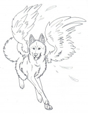 Winged Wolf Angel Coloring Pages | Cartoon Coloring pages of ...