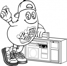 Jelly Bean Boombox Coloring Page
