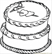 Cake With Big Hearts Coloring Page - Free Desserts Coloring Pages :  ColoringPages101.com
