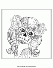 Girl In Sugar Skull Makeup Coloring Page • FREE Printable ...