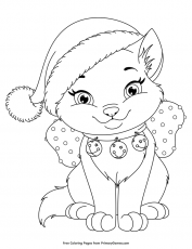 Christmas Kitten Coloring Page • FREE Printable eBook ...