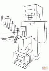 Minecraft Steve with Diamond Sword coloring page | Free Printable ...