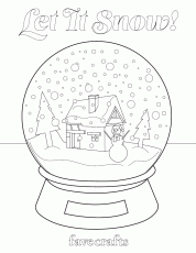 Let It Snow! Snow Globe Coloring Page | FaveCrafts.com