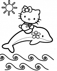 Hello Kitty Is Up Above The Dolphins Coloring Page - hello kitty