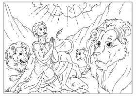 Coloring page Daniel in the lions' den - img 25953.