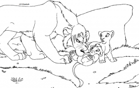 Tiny baby cub lineart by Lil-