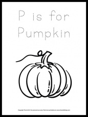 FREE! Letter P is for Pumpkin (in Cursive) Coloring Page - The Art Kit