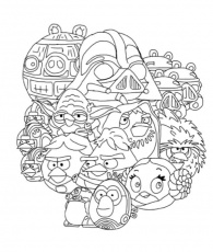 All Characters of Angry Bird Star Wars Coloring Pages | Bulk Color