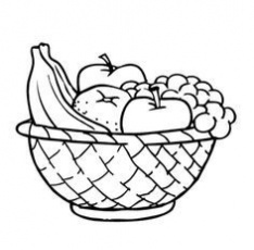 Free Colouring Pages Fruit Basket