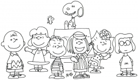 charlie Brown and snoopy peanuts coloring page