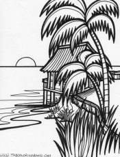 Sunset coloring pages to download and print for free